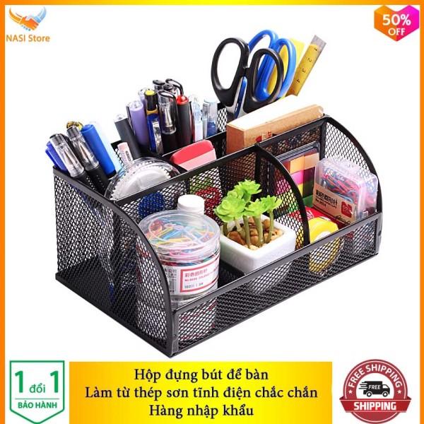 Mua Hộp Đựng Bút để bàn cao cấp NS01 (hàng nhập khẩu) bằng thép sơn tĩnh điện chắc chắn - Hộp đựng bút đa năng, hộp đựng viết, hộp đựng bút văn phòng, hộp đựng bút học sinh, khay đựng bút - NASI Store