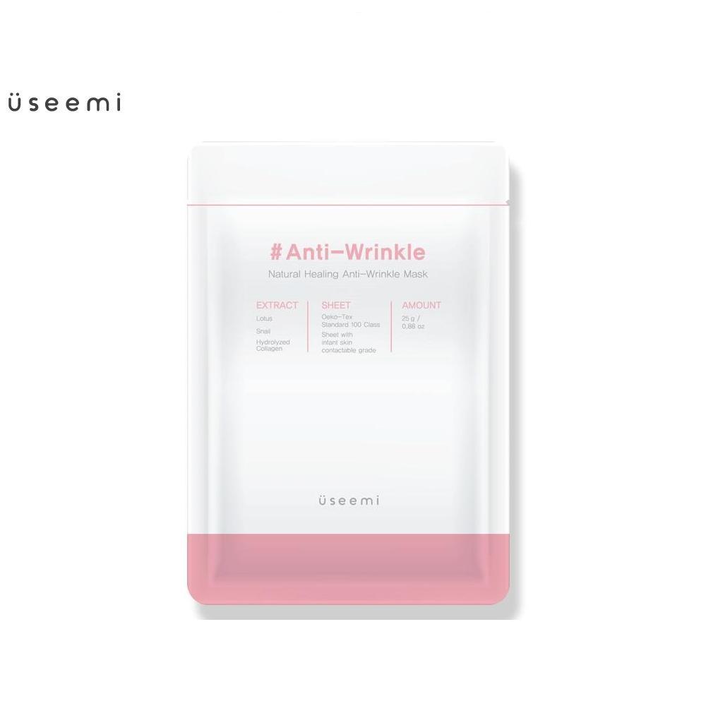 Mặt nạ cải thiện làn da lão hóa Useemi Natural Healing Anti Wrinkle Mask. Mặt nạ dưỡng da chiết xuất thiên nhiên, không chứa cồn giúp mờ thâm, giảm nếp nhăn, da săn chắc và đàn hồi. Mặt nạ Useemi hàng chính hãng, chất lượng cao cao cấp