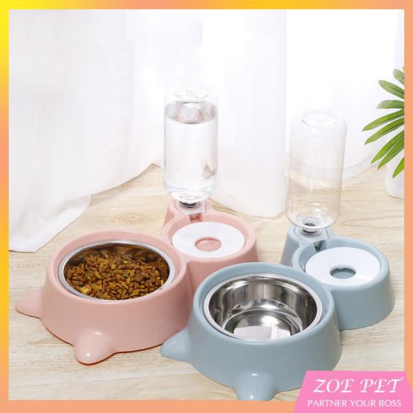 Bát đôi cho chó mèo có bình nước tự động giúp cho các bé chăm uống nước mà không bị rớt ra ngoài, bát to cho chó thoải mái