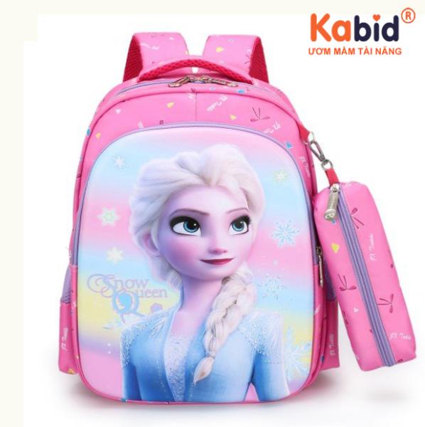 Giá bán [Balo 3D có túi bút]Cặp học sinh tiểu học KABID, Balo cho bé gái từ 5-8 tuổi, họa tiết in 3D, chất liệu siêu chống thấm, bảo vệ cột sống + Kèm túi bút + Tặng cá heo viết chữ đẹp