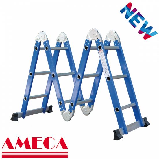 Thang nhôm gấp 4 đoạn 3,6m Ameca AMC-M203 NEW