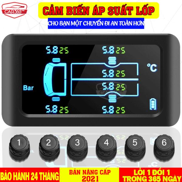 Cảm biến áp suất lốp 6 bánh cho xe tải, xe khách với pin mặt trời và màn hình LCD cao cấp CHÍNH HÃNG CAR365 - Phiên bản quốc tế vi xử lý công nghệ Đức cao cấp - Chất lượng vượt trội - [BẢO HÀNH 24 THÁNG] - CAR34