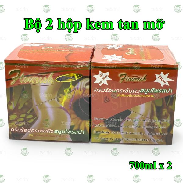 Bộ 2 hộp kem tan mỡ bụng gừng ớt Flourish Thái Lan (700ml x 2) giúp đánh tan mỡ hiệu quả, làm săn chắc vùng bụng, hông, eo, mông và đùi, cho dáng vóc luôn gọn gàng hơn cao cấp