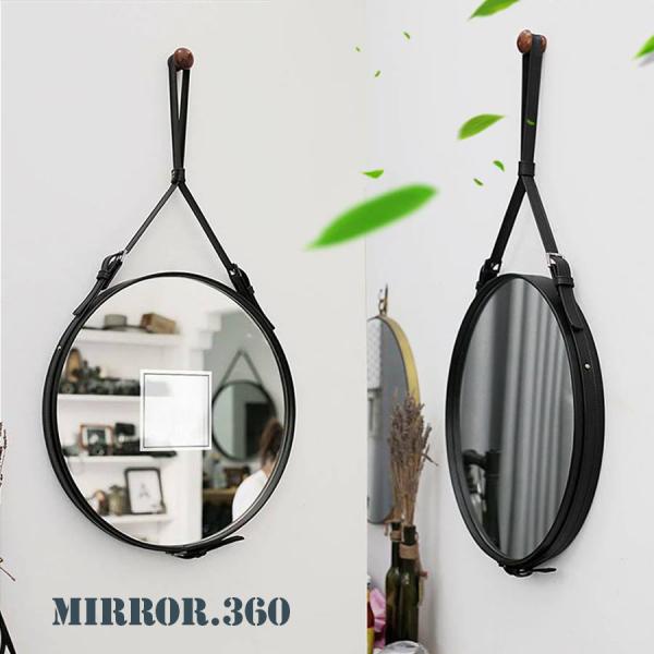 (Size 50cm) Gương Tròn Treo Tường Viền Da Simili (Màu đen). Tặng kèm phụ kiện treo gương.