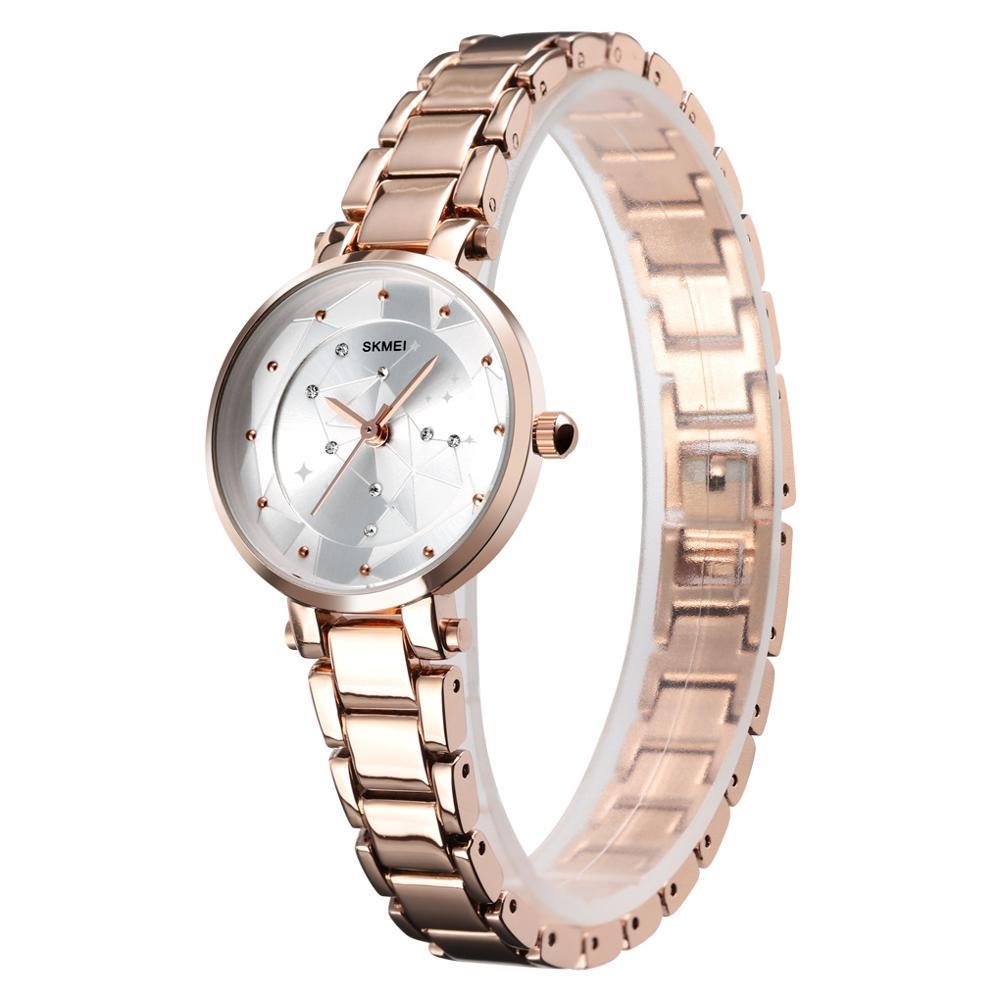 Đồng hồ nữ SKMEI dây thép mặt pha lê đính đá - tặng kèm pin - SK96 bán chạy