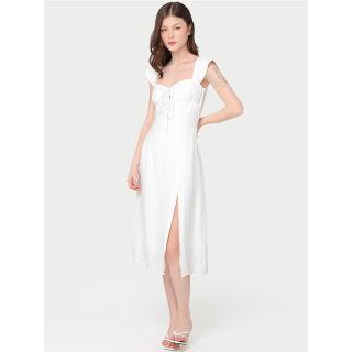 RECHIC Đầm Cheris màu trắng cổ vuông cúp ngực cột nơ dáng dài xẻ tà trẻ trung quyến rũ thumbnail