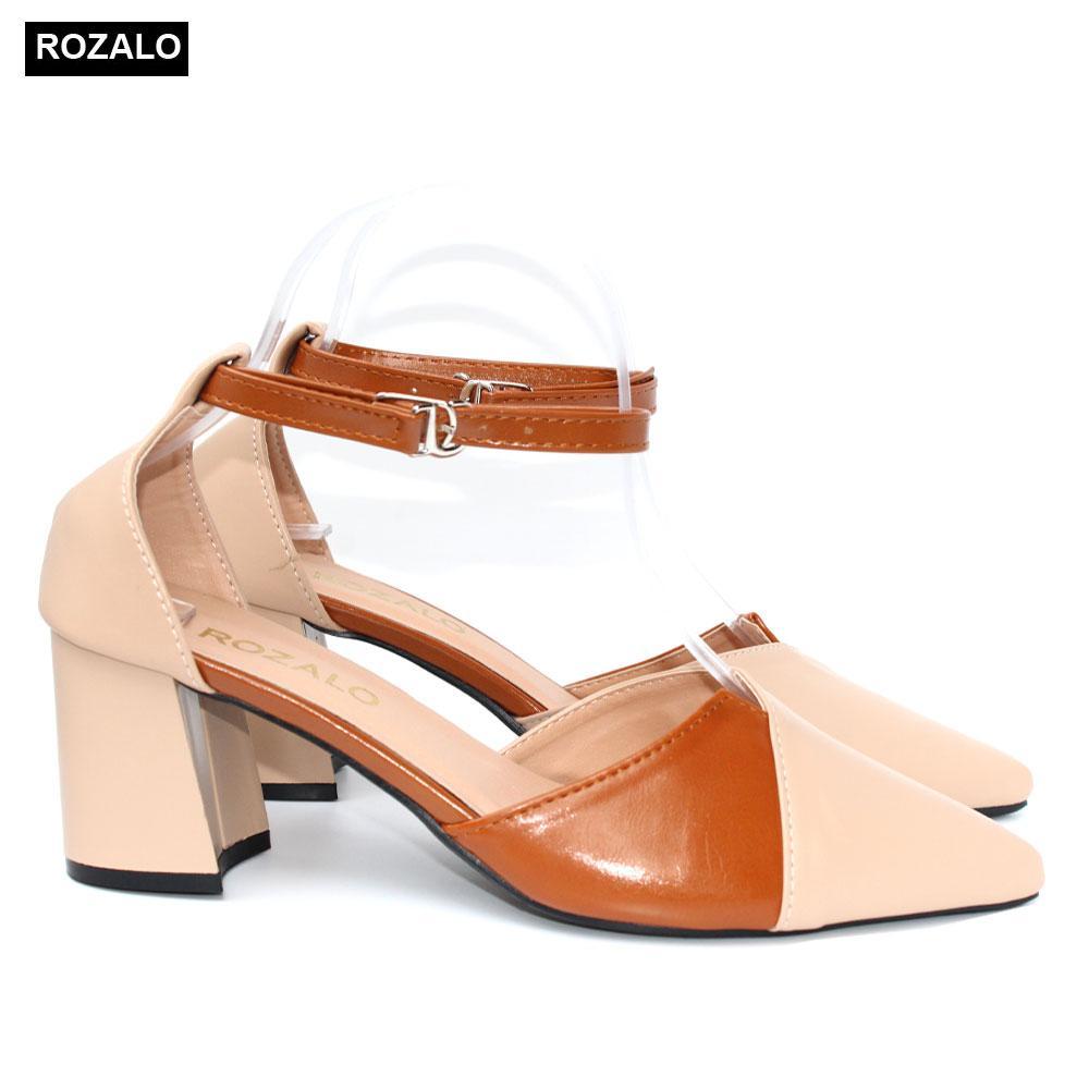 Giày cao gót vuông 7P phối 2 màu Rozalo R8517