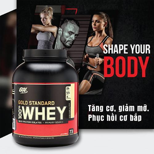 ON GOLD STANDARD 100% WHEY, 5 LBS - 2.27 Kg - Tăng cơ, Giảm mỡ cho Gym, Yoga, Fitness, Thể thao + Khăn tập sợi tự nhiên