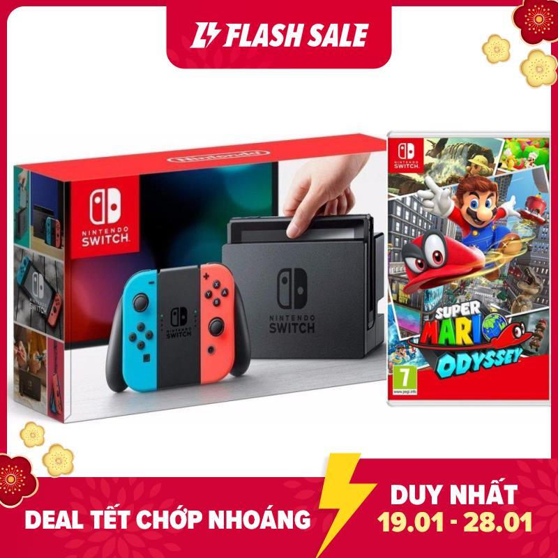 Máy chơi Game Nintendo Switch With Neon Blue Red Joy-Con - New model (v2) Tặng Kèm Game Mario Odyssey  [TRẢ GÓP 0%]