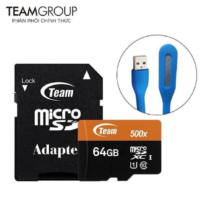 Thẻ nhớ microSDXC Team 64GB 500x upto 80MB/s class 10 UHS-I kèm Adapter (Đen cam) tặng đèn LED USB