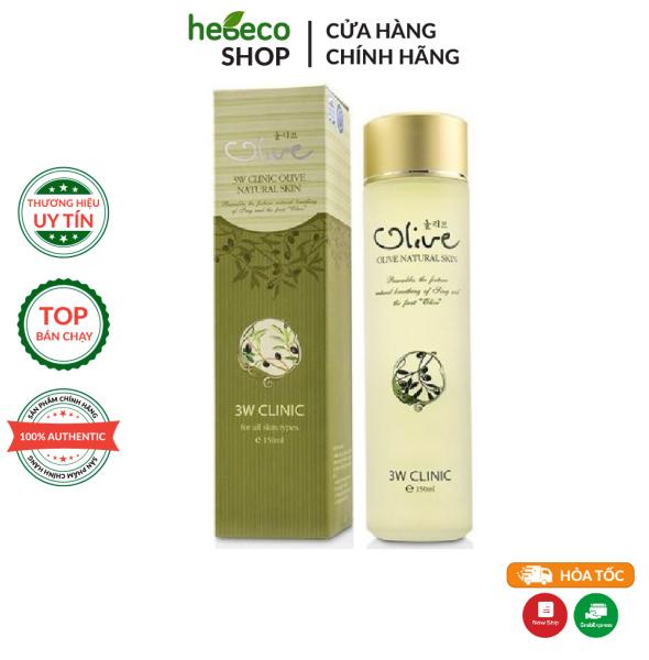 Nước hoa hồng dưỡng trắng, chống lão hóa da tinh chất dầu Olive 3W CLINIC OLIVE NATURAL SKIN 150ml - Hàn Quốc