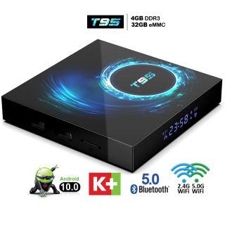 Android tv box 4GB ram 32GB rom băng tần wifi kép bluetooth 5.0 box tv android độ phân giải 6K rõ nét android 10.0 tặng tài khoản miễn phí K+ xem phim hỗ trợ điều khiển bằng giọng nói bảo hành 1 năm T95 tivi box