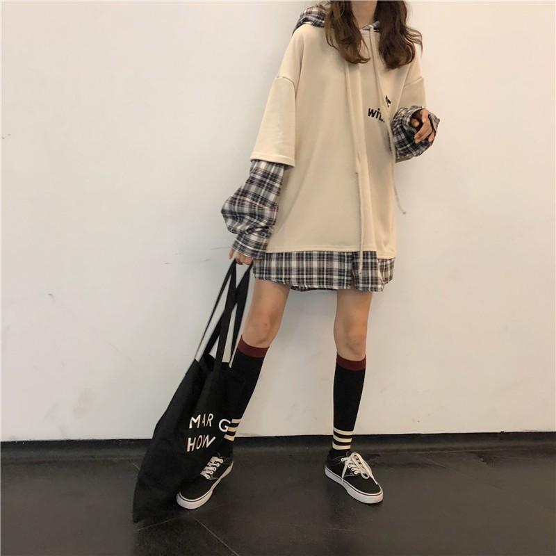 Áo hoodie dài tay nam nữ  pha tay sơ mi BE WITH ME Form rộng uzzlang (Thời trang hàn quốc thu đông) - 2