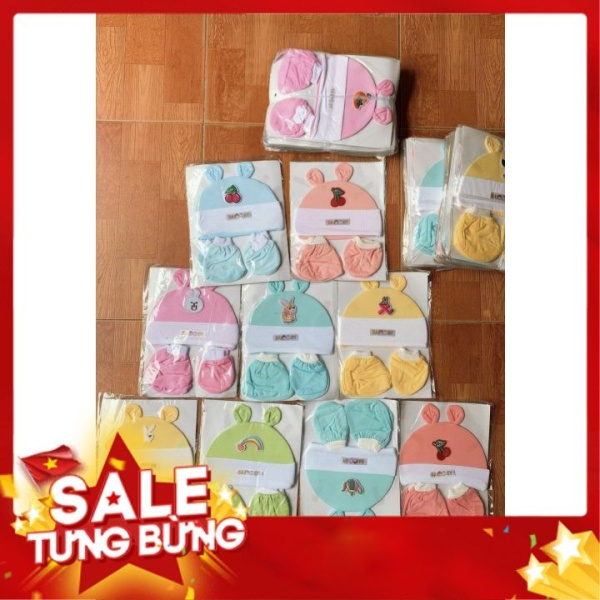 Giá bán [Hàng Có Sẵn] Set Mũ Bao Tay Bao Chân Cho Trẻ Sơ Sinh