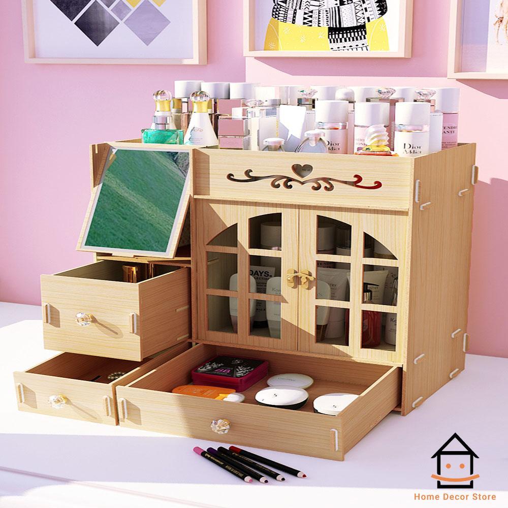Kệ gỗ để đồ trang điểm, mỹ phẩm giá rẻ có gương...