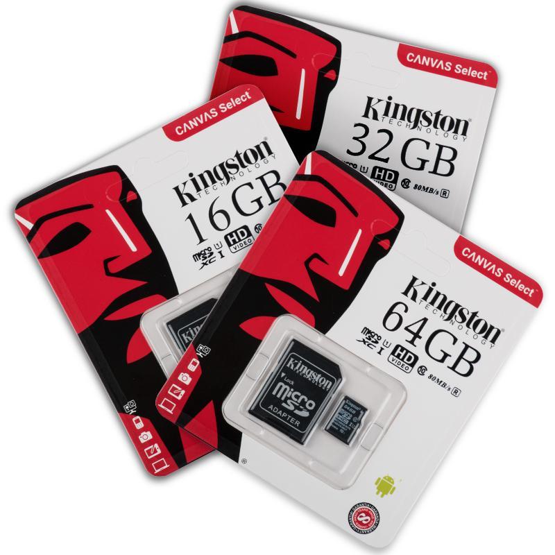 Giá Thẻ nhớ Kingston 16GB/32GB/64GBTốc độ đọc siêu nhanh 80MB/SSử dụng kỹ thuật UHS-I Thích hợp quay video độ nét cao Đạt tiêu chuẩn A1/ Tối ưu hóa cho thiết bị có hệ điều hành Android