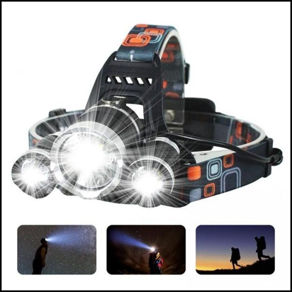 Đèn pin đội đầu 3 bóng siêu sáng T6 có 4 chế độ + 2 pin sạc + 1 bộ sạc + 1 dây đai + 1 hộp đựng