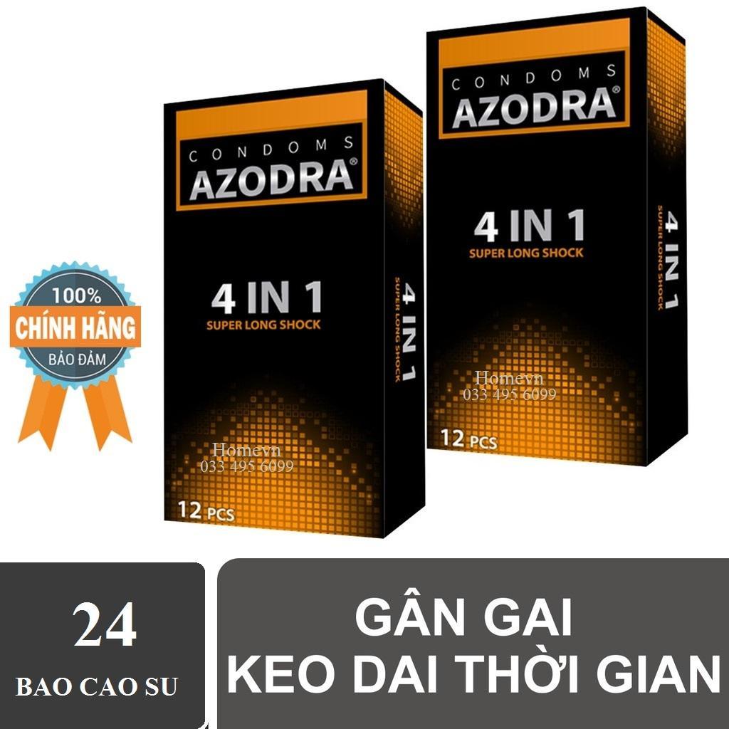 (Chính hãng) Combo 2 hộp Bao cao su tổng hợp gân gai kéo dài thời gian AZODRA nhập khẩu