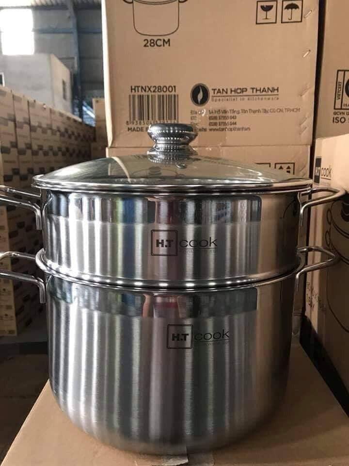 [KHO HCM] [ HÌNH THẬT] Bộ Nồi Xửng Hấp HT Cook 28cm Cao Cấp
