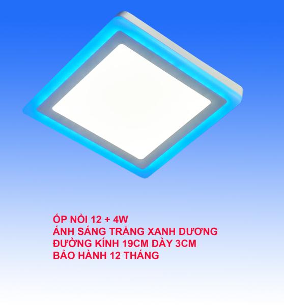 Đèn Led ốp trần 16w (12w +4w) vuông nổi 2 màu 3 chế độ sáng trắng xanh dương