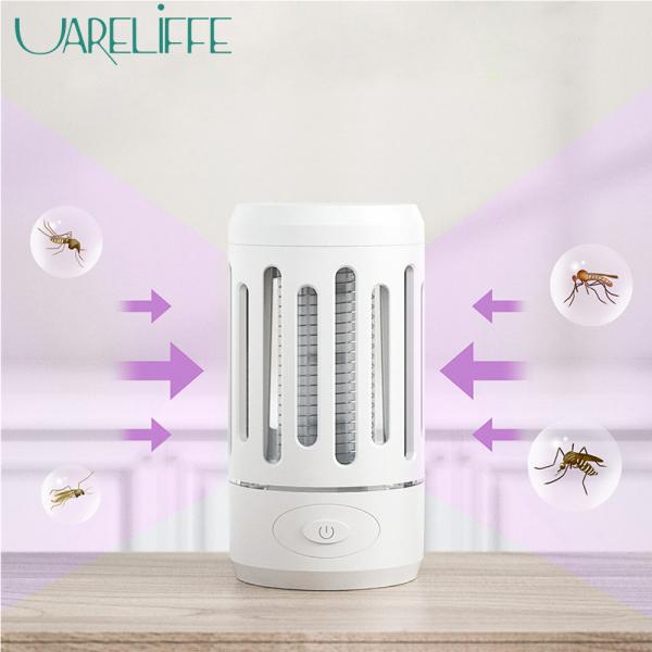Uareliffe Đèn diệt muỗi 2 trong 1 an toàn và thân thiện với môi trường bẫy muỗi bằng sóng ánh sáng gây sốc vật lý không tạo tiếng ồn có cổng cắm USB và thiết kế đèn LED cong nhỏ gọn dễ dàng dịch chuyển dùng cho phòng ngủ/ nhà