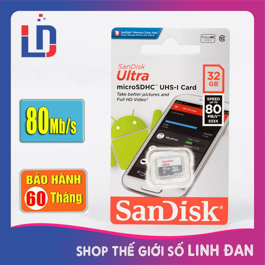Thẻ nhớ micro SD sandisk Ultra 32GB 80Mb/s - New version