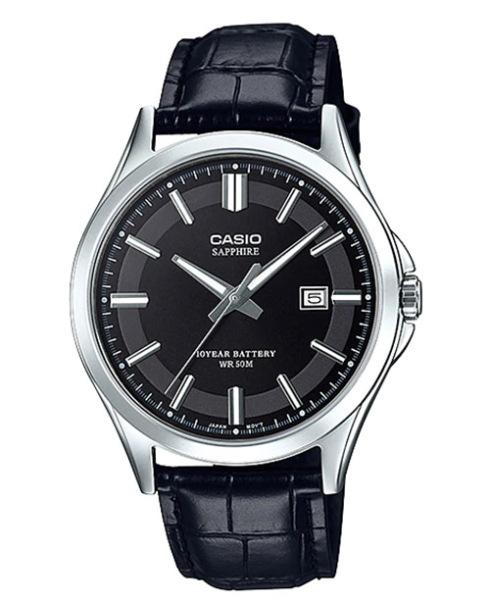 Đồng hồ nam Casio MTS-100L-1AVDF Dây da đen, mặt đen cá tính, mặt kính saphire chống xước cao cấp