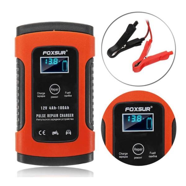 Sạc bình ắc quy 12v FOXSUR từ 4Ah-100Ah có chức năng phục hồi acquy bằng khử sunfat thông minh tự ngắt khi đầy chống ngược cực Sạc acquy xe máy acquy ô tô máy nạp bình ắc quy sạc bình ắc quy 12v (FOXSUR LOẠI 1) sạc ắc qu