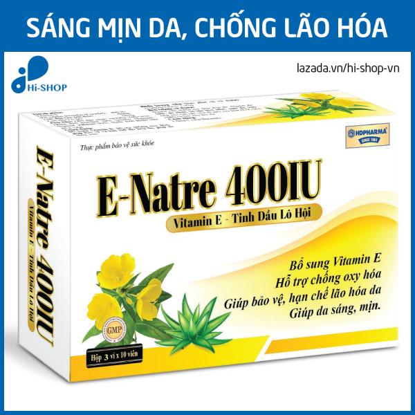 Viên uống Vitamin E 400 IU, tinh dầu lô hội làm đẹp da, chống lão hóa, ngừa nếp nhăn - Hộp 30 viên dùng 1 tháng