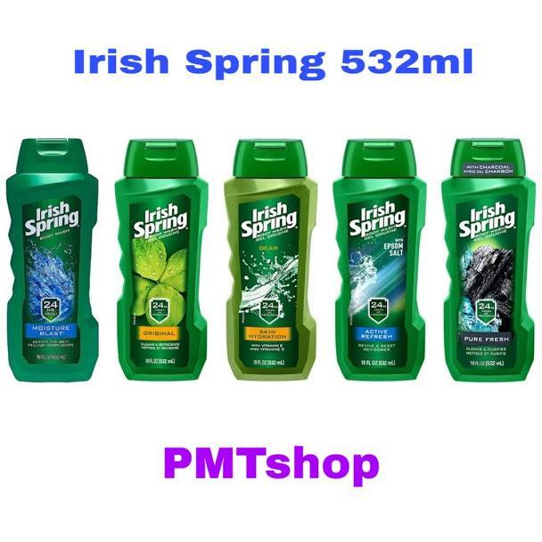 [Exp 2021] Sữa Tắm Irish Spring 532ml Original, Deep Action Scrub, Exfoliating Clean, Aloe, Non Stop Fresh, Skin Hydration - Mỹ nhập khẩu