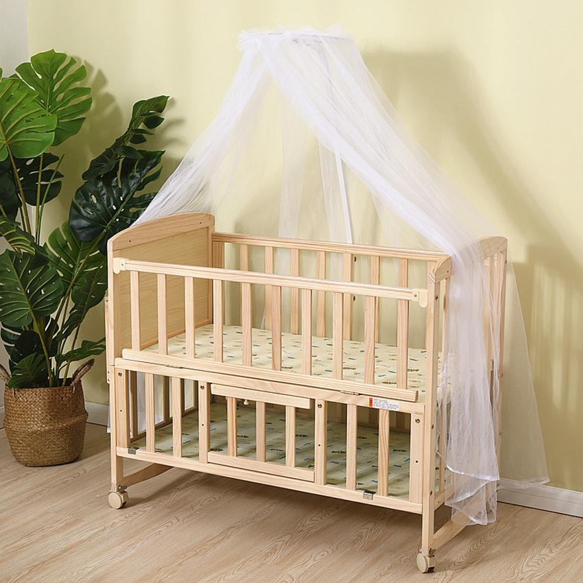 Cũi gỗ 2 tầng cho bé, nôi gỗ cho bé có bánh xe, tặng màn