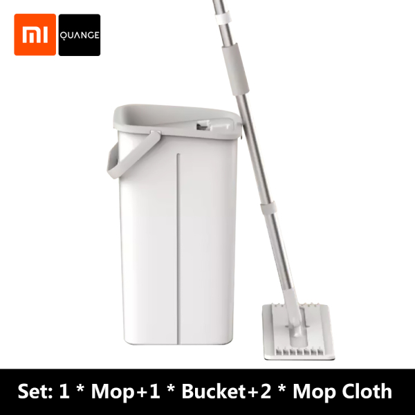 Xiaomi Youpin QUANGE Spin Mop Set Lazy Spray Mops Wooden Floor Ceramic Tile Automatic Flat Squeeze Mop Floor Cleaner For Home Cleaning Tool Household With Bucket