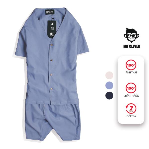 Bộ quần áo nam cổ V MK CLEVER, chất liệu linen co giãn nhẹ, mặt vải mềm mịn, siêu mát và thấm hút mồ hôi tốt - SCV056
