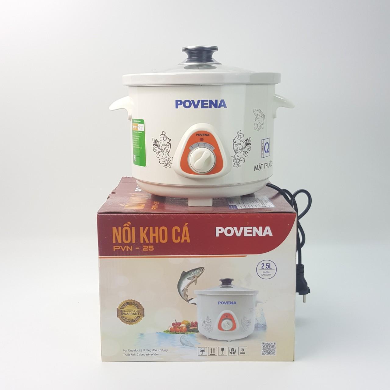 Nồi kho cá Povena 2,5L 1800W bảo vệ chống quá nhiệt màu trắng PVN-25