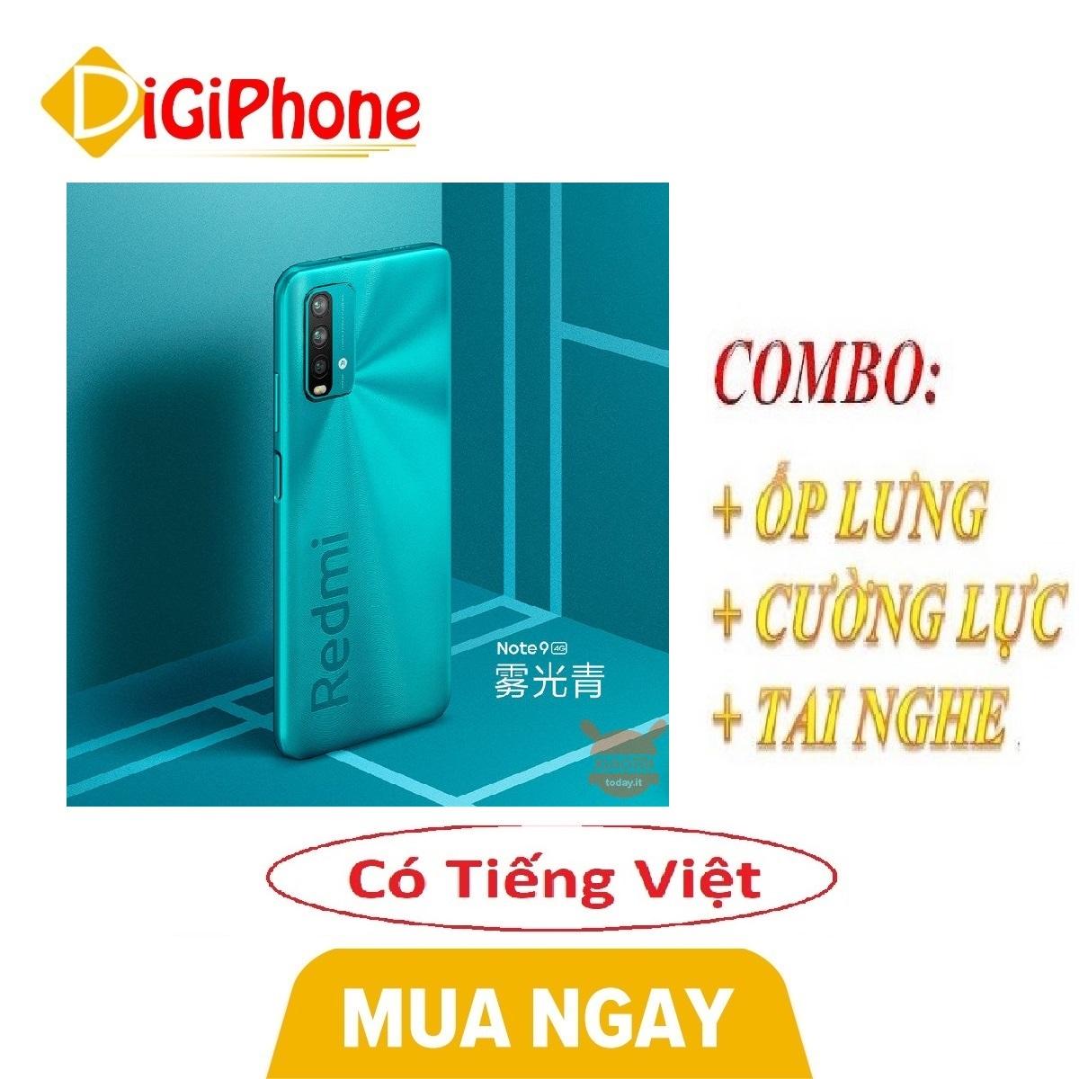 Combo Điện thoại Xiaomi Redmi Note 9 4/128 China Version Chip Snap Dragon 662 (phiên bản 4G) + Ốp lưng + Cường lực + Tai nghe