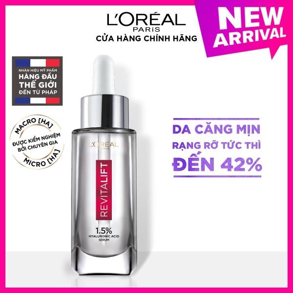 (Voucher giảm 100K) Serum siêu cấp ẩm sáng da LOreal Paris pure Hyaluronic Acid 1.5% 30ml nhập khẩu