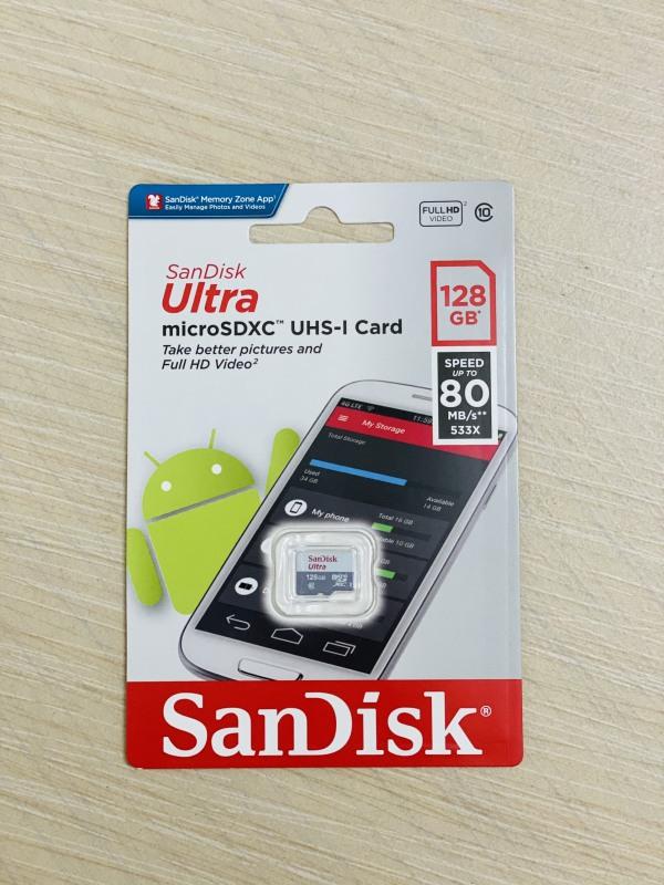 THẺ NHỚ MICRO SD 128GB SANDISK ULTRA CLASS 10, thẻ lưu trữ dữ liệu dùng cho điện thoại camera máy ảnh, memory card micro SDXC SD XC, tốc độ cao bền, hàng xịn tốt chính hãng cao cấp giá rẻ lưu trữ game SDHC HC bảo hành 128 GB gygabyte