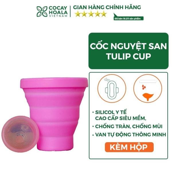 Cốc Nguyệt San Cocayhoala Tulip Cup 100% Silicone Y Tế Cao cấp Siêu Mềm, Chống tràn, chống mùi, Van tự động thông minh giá rẻ