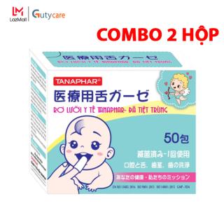 Combo 2 Hộp Rơ Lưỡi - Gạc Tưa Lưỡi - Gạc rơ lưỡi Tanaphar trẻ em y tế tiệt trùng chất liệu mềm mại - vệ sinh lưỡi răng miệng trẻ sơ sinh - Hộp 50 cái - Guty Care thumbnail