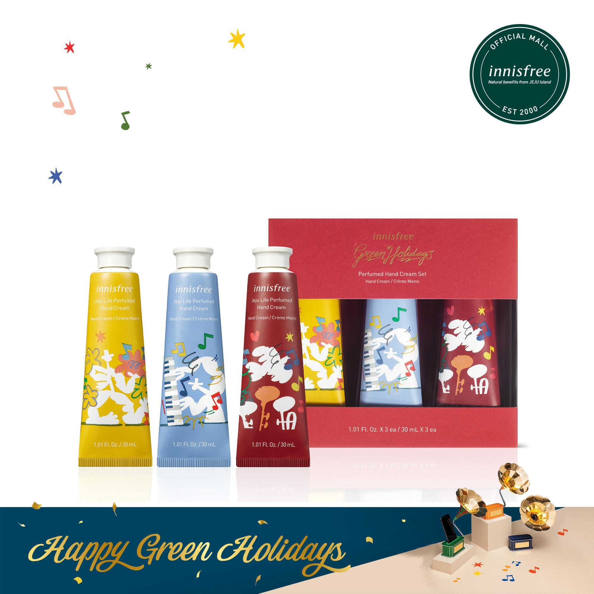 [Phiên bản Green Holidays] Bộ 3 kem dưỡng da tay innisfree Perfumed Hand Cream Set