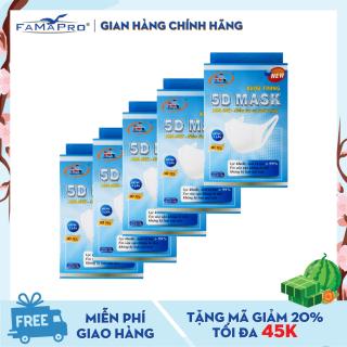 Combo 5 hộp khẩu trang y tế kháng khuẩn 3 lớp Famapro 5D Mask dây vải dạng hộp (10 cái Hộp) ) thumbnail
