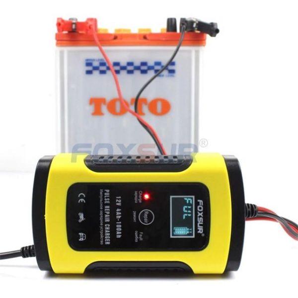Sạc ăc quy Foxsur AnhTCzyx - Bộ sạc bình ắc quy 12v thông minh cho ô tô xe máy tự ngắt khi đầy