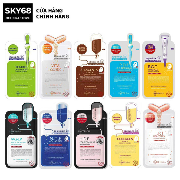 Hộp 10 Mặt nạ giấy cấp ẩm, dưỡng trắng, làm dịu da, loại bỏ bã nhờn và cung cấp dưỡng chất cho da Mediheal Mask EX 25ml x 10