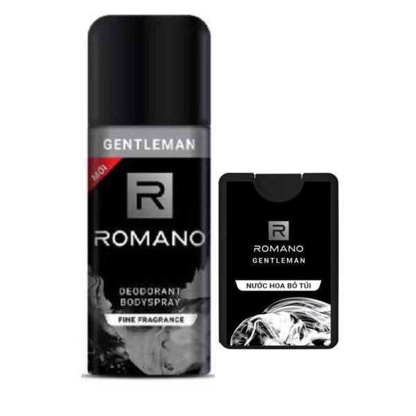 Combo Romano Gentleman: Xịt khử mùi 150ml+Nước hoa bỏ túi 18ml
