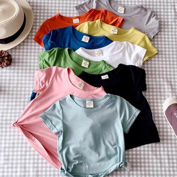 [5 CÁi 5 MÀu] Set 5 Chiếc Áo Thun Cotton 5 Màu Khác Nhau Kiểu Dáng Basic Cho Bé Trai/gái 8-18kg By Shop.beecow.