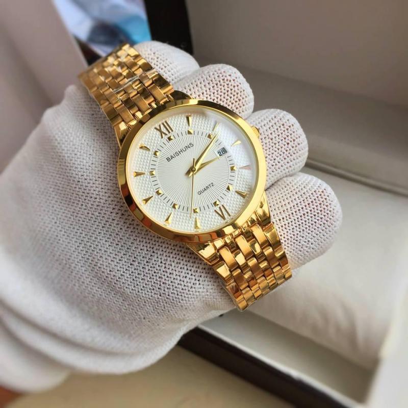 Đồng hồ nam Baishuns dây vàng BS0333 kích thước mặt 40mm, vỏ hợp kim Inox chống gỉ, chống va đập, chống xước, chịu nước 3ATM