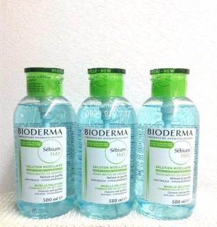 Nước Tẩy trang Bioderma Sebium xanh 500ml nắp ấn mẫu mới date còn 20 tháng chính hãng thumbnail