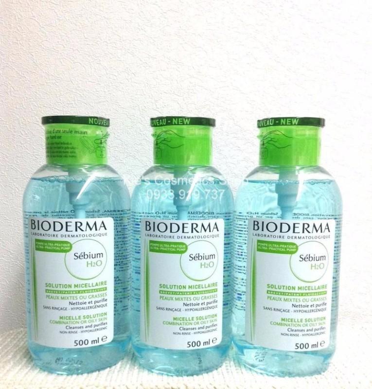 Nước Tẩy trang Bioderma Sebium xanh 500ml nắp ấn mẫu mới date còn 20 tháng chính hãng cao cấp
