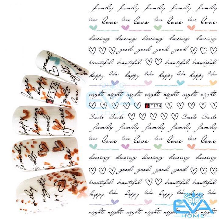 Miếng Dán Móng Tay 3D Nail Sticker Tráng Trí Hoa Văn Hoạ Tiết Chữ Viết Alphabet F174 tốt nhất