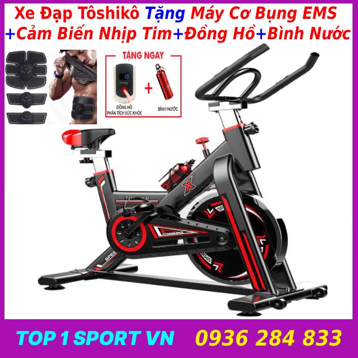 Xe đạp tập thể dục tại nhà | xe đạp tập gym | xe đạp tập thể thao tại nhà Tôshikô X8 GH709 - tặng máy cơ bụng + bó gối + Đồng hồ 6 chỉ số + cảm biến nhịp tim + bình nước thể thao Xsport - bảo hành 36 tháng